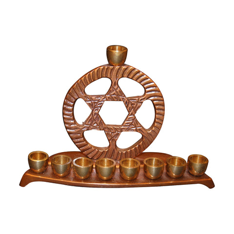 "GiftBay 6035 Menorah 9 Candle with Antique Copper & Polished Brass Candles Finish Perfect Chanukah Decor 4.75""x1.5""x3.25""h"