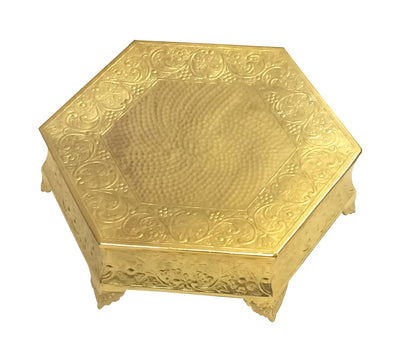 "GiftBay Wedding Cake Stand Hexagonal Shape 18"", Aluminum Gold Finish"