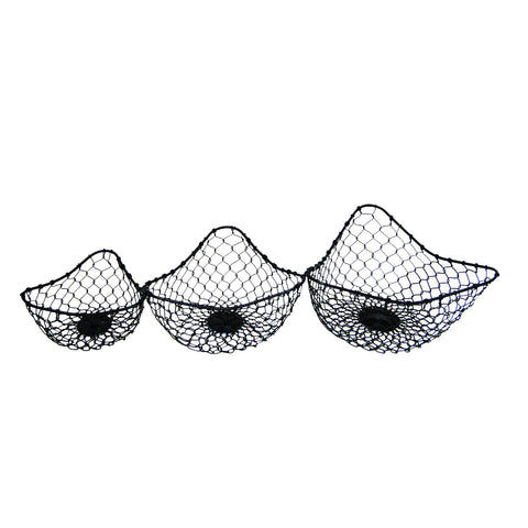 GiftBay 901(S/3) Strongly Built Wire Basket Set of 3 Black Powder Coated Finish for Fruits, Breads, Vegetables, Flowers Display