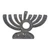 "GiftBay 6047 Menorah - 9 Branch Amazingly Handcrafted with Thousands of Pewter/Silver Colored Beads, Crystals, Cut Mirror Pieces 9.25"" L X 2""w X 6"" H"