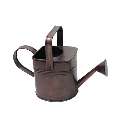 "GiftBay Watering Can, Metal With Dual Handle 9"" High, 1.5 Gallon, Antique Copper Finish"