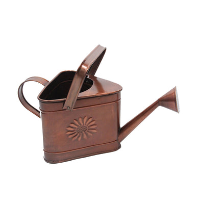 "GiftBay Watering Can, Metal With Dual Handle 8"" High, 1.25 Gallon, Antique Copper Finish"