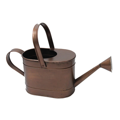 "GiftBay Watering Can, Metal With Dual Handle 8"" High, 1.50 Gallon, Antique Copper Finish"