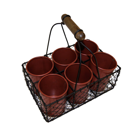 "GiftBay 809-BR Wire Basket with Six Pot Black 11"" High, Very Unique and Strongly Built for Multi- Purpose Use"