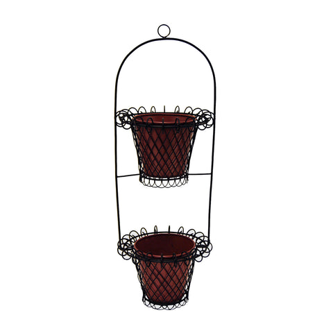 "GiftBay 812-BR Tall Wire & Pot Black & Red Container / Vase 33"" High. Very Unique and Strongly Built"