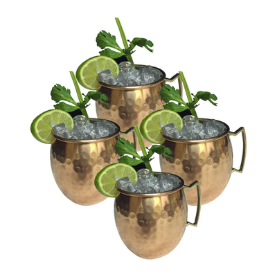 GiftBay Mug-100 Moscow Mule Copper Mug Set of 4 with Unique Handcrafted Hammered Design, 16 Ounce Size