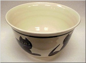 Pottery: Black Cat Bowl