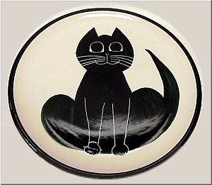 Pottery: Black Cat Serving Platter