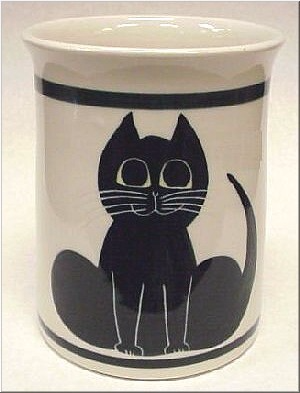 Pottery: Black Cat Utensil Holder
