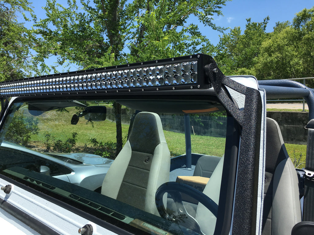 Window frame bracket for 50 light bar on jeep yj crawl bright lights window frame bracket for 50 light bar on jeep yj aloadofball Choice Image