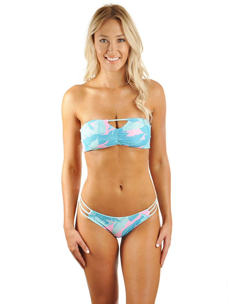 Hannah Braid Bandeau Top - Pink Banana Leaf/Mint Cream