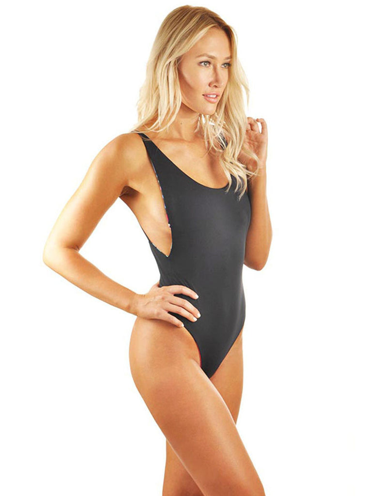 C.J. Parker High Cut Low Back One-Piece - Black/Nude