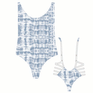 Charley High-Cut Cheeky One-Piece - Blue & White Tie-Dye Reversible to White