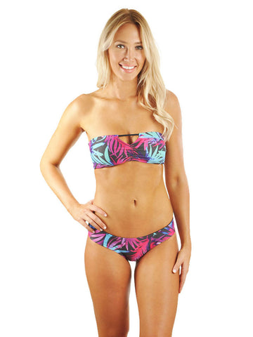 Hannah Braid Bandeau Top - Black Tropical/Black