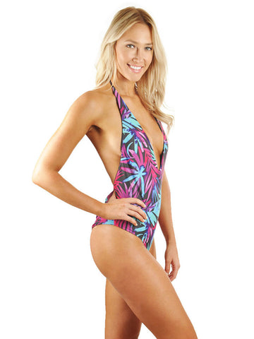 Skylar Deep-V Low Back One-Piece - Black Tropical/Black