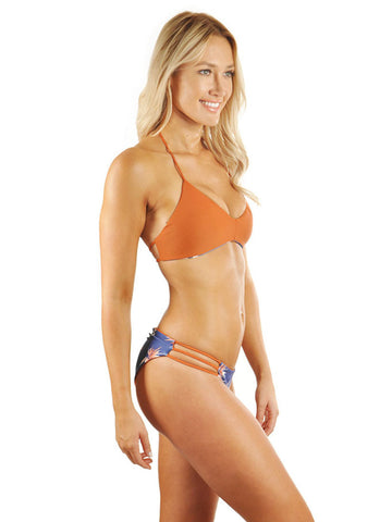 Kira Braid Halter Top - Blue Bird Of Paradise/Desert Orange
