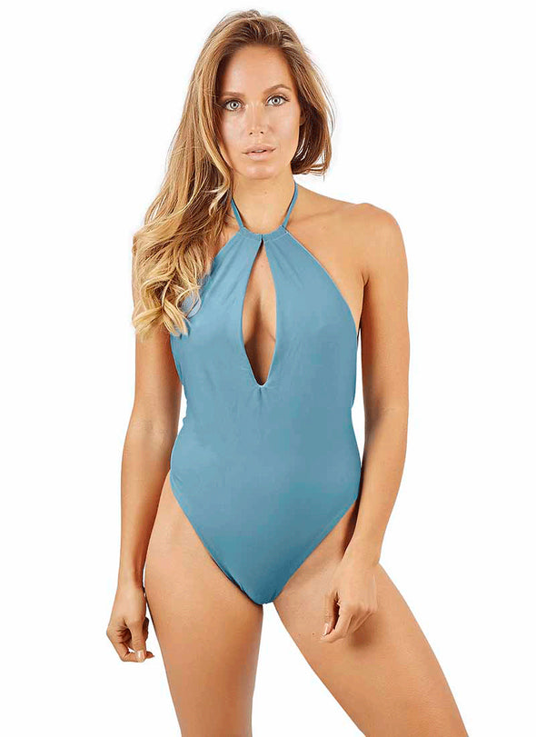 Anastasia High-Cut Thong One-Piece - Tahoe Blue