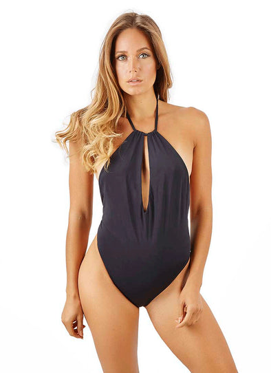 Anastasia High-Cut Thong One-Piece - Black