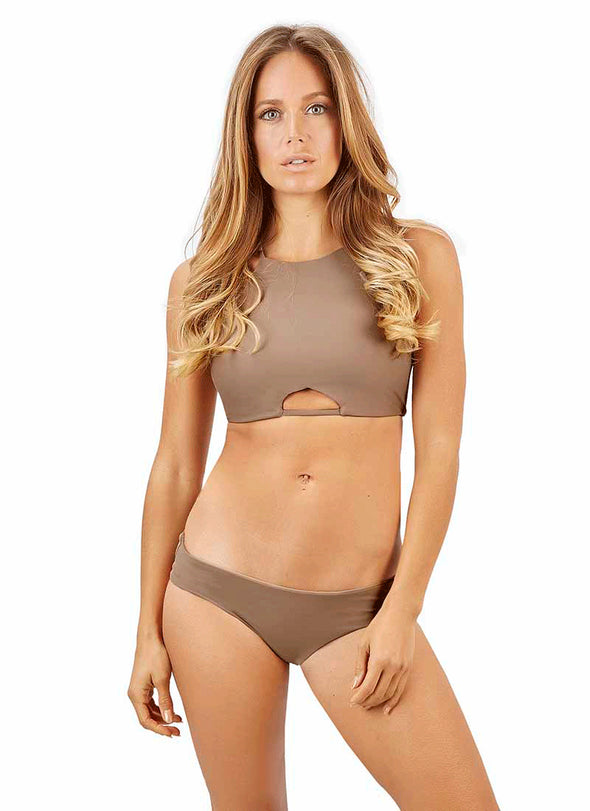 Carmella High-Neck Halter Top - Cappuccino