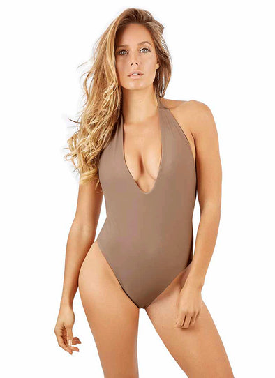 Kyra Deep-V One-Piece - Cappuccino
