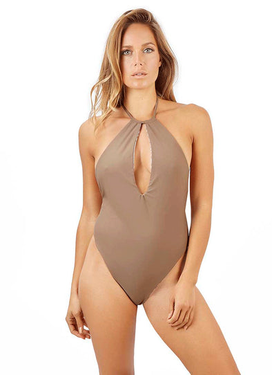 Anastasia High-Cut Thong One-Piece - Cappuccino