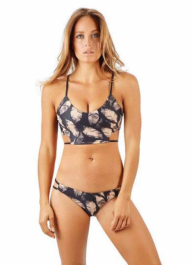 Ivy High-Cut Thong Bottom - Gold Feather Reversible to Black