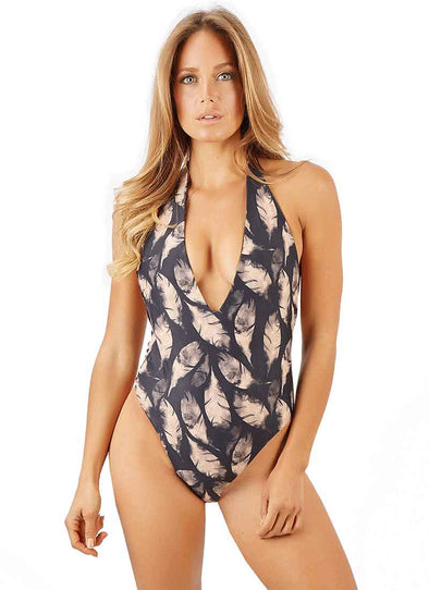 Kyra Deep-V One-Piece - Gold Feather Reversible to Black