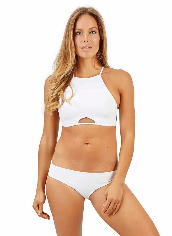 Carmella High-Neck Halter Top - White