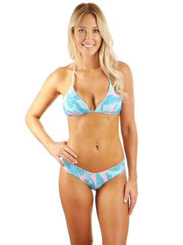Taylor Triangle Bikini Top - Pink Banana Leaf/Mint Cream