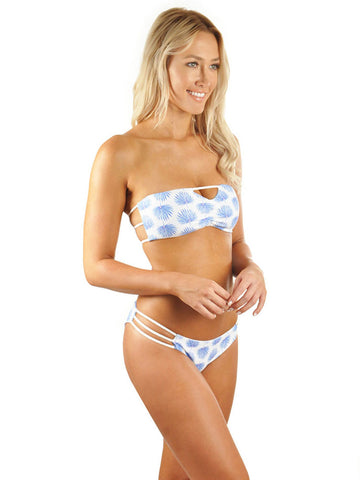 Hannah Braid Bandeau Top - Blue Fan Palm/White