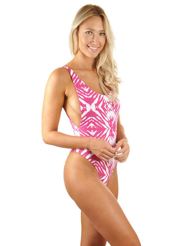 C.J. Parker High Cut Low Back One-Piece - Magenta Ocean Ripple/Magenta