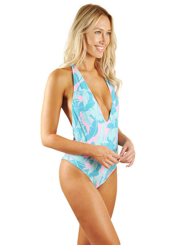 Skylar Deep-V Low Back One-Piece - Pink Banana Leaf/Mint Cream