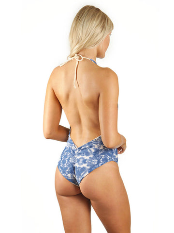 Skylar Deep-V Low Back One-Piece - Naked Ocean/Naked