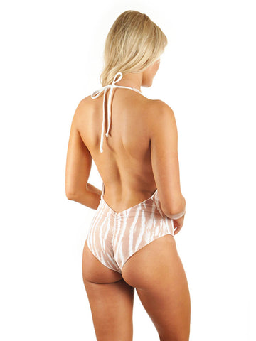Skylar Deep-V Low Back One-Piece - Sand Tiger/White