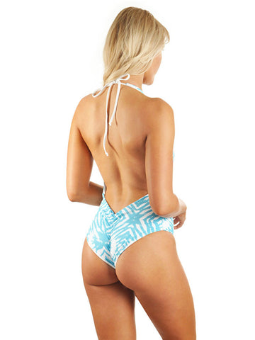Skylar Deep-V Low Back One-Piece - Seafoam Ocean Ripple/White