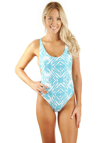 C.J. Parker High Cut Low Back One-Piece - Seafoam Ocean Ripple/White