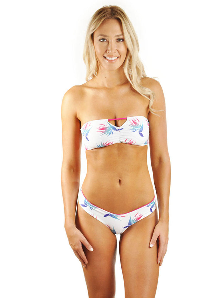 Hannah Braid Bandeau Top - White Bird Of Paradise/Deep Pink