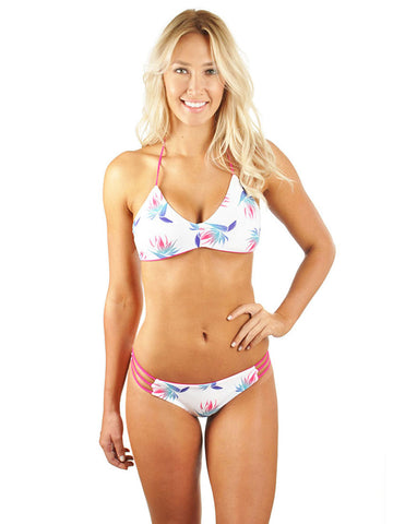 Andrea Braid Moderate Scrunch Bottom - White Birds Of Paradise/Deep Pink