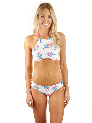 Mazie Moderate Coverage Bottom - White Birds Of Paradise/Deep Pink