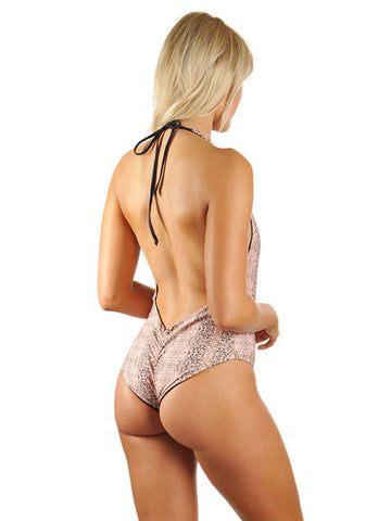 Skylar Deep-V Low Back One-Piece - Black Cheetah/Black