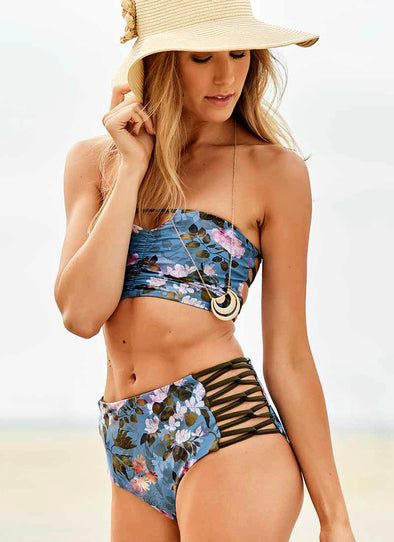 Carmen High-Waist Bottom - Underwater Floral / Olive
