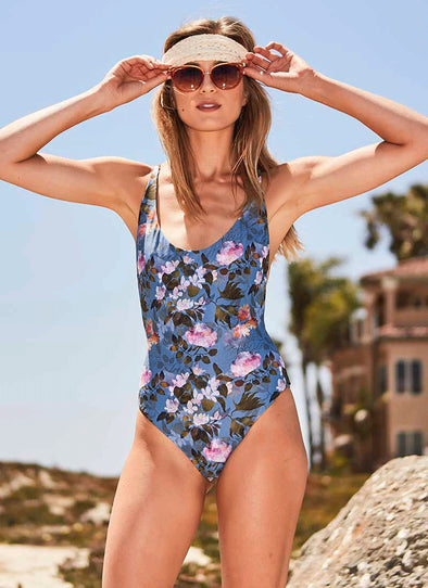 Hartley Scoop-Neck One-Piece - Underwater Floral / Olive