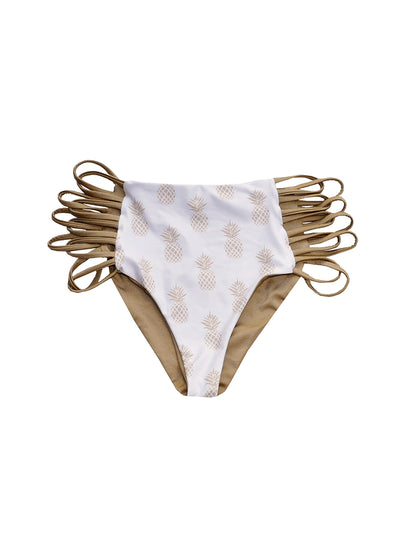 Carmen High-Waist Bottom - Gold Pineapple / Gold