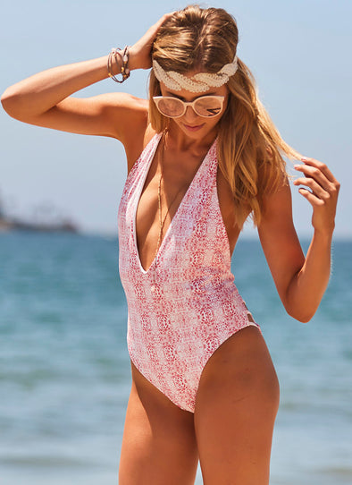 Kyra Deep-V One-Piece - Gypsy Red / White