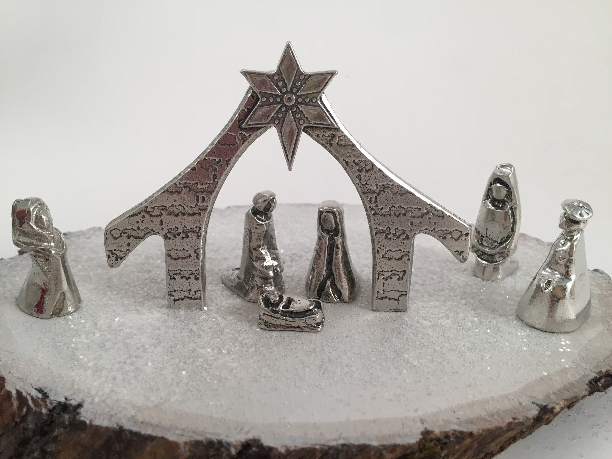 Miniature Nativity Metal Figures in Crown Gift Box Christmas Decoration
