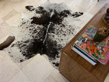 Load image into Gallery viewer, Real Cowhide rug Salt and Pepper Black and White