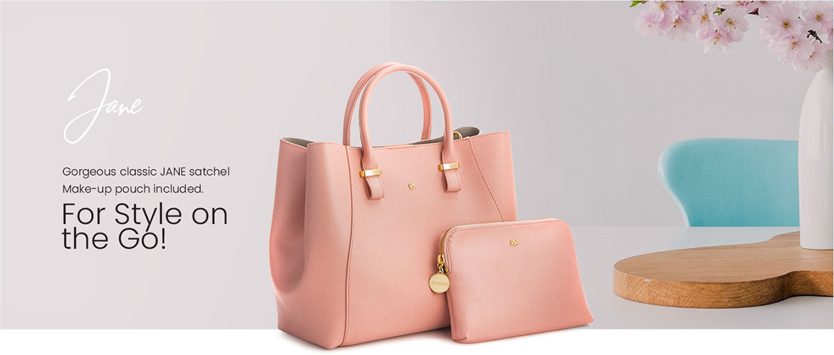 Vagen Leather Satchel with Pouch in Peach - Jane