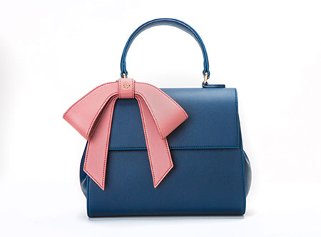 Vegan Cottontail Navy Bag with Pink Bow