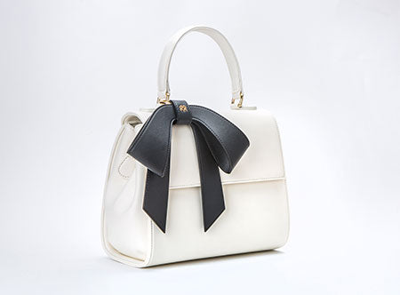 Vegan Cottontail White Bag with Black Bow