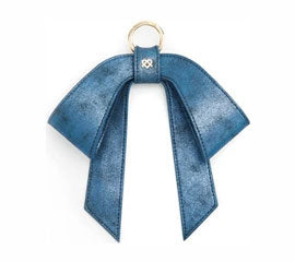 Vegan Leather Bag Bow - Glitter Blue